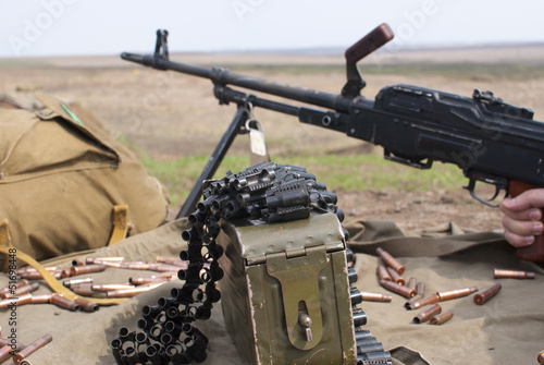 PK machine gun on a battlefield