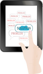 male business hand pushing on solution innovation button