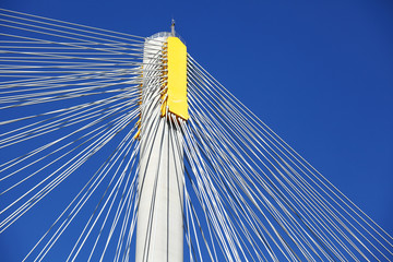 Suspension bridge with cables