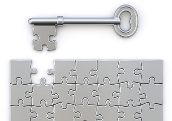 Key with puzzle