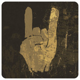 "Grunge ""rock on"" gesture. Vector"