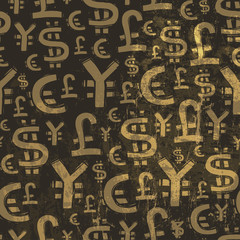Seamless currency pattern on grunge texture. Vector