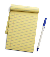 Yellow Paper Pad and Pen