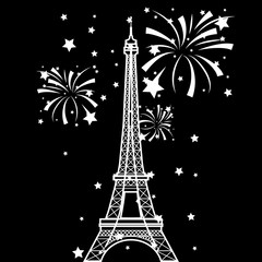 Vector Eiffel Tower and fireworks
