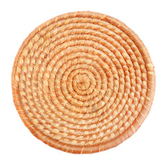 An empty wicker dish.  Traditional rustic handmade product.