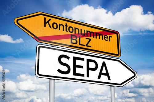 Wegweiser mit Kontonummer und SEPA