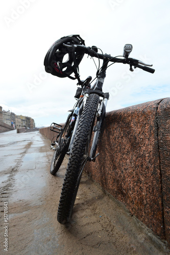 Sports bike on a embankment in St.Petersburg