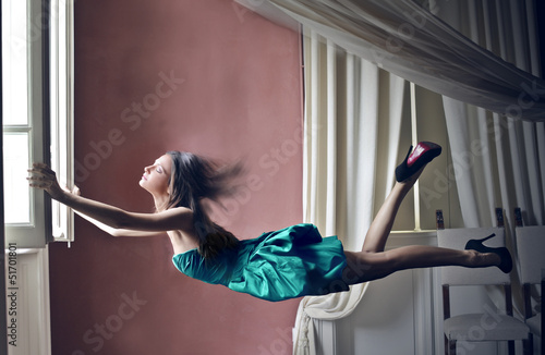 woman flying
