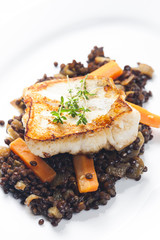 pikeperch fillet with lentils and carrot