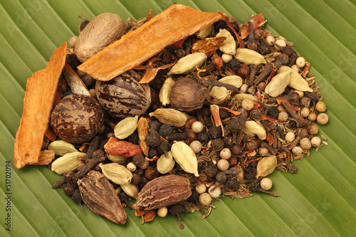 Variety of raw Indian Spices on Banana Leaf