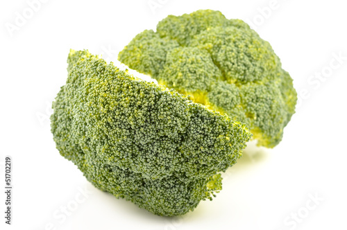 Fresh broccoli on a white background