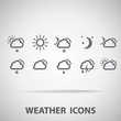 Set of weather vector icons - silhouette
