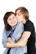 Young caucasian lovely couple kissing