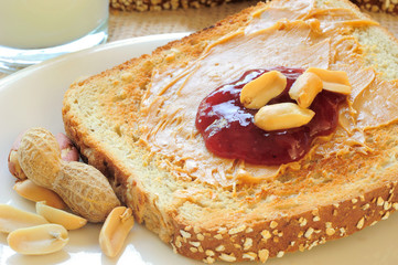 Bread Peanut Butter and Strawberry Jam