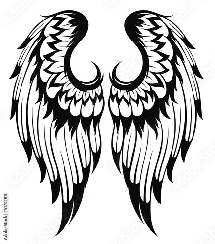 Black wings silhouette . Tattoo design