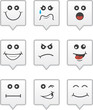 Speech bubble icons with various faces