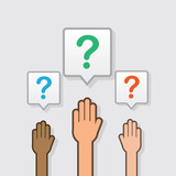 Hands raised with question mark icons