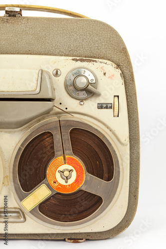 vintage old portable tape recorder