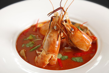 Thai Food Tom Yum Goong,Thai popular soup.