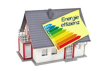 Haus mit Zettel und Energieeffizienzklassen und Energieeffizienz