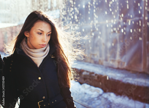 beautiful woman in rainy day