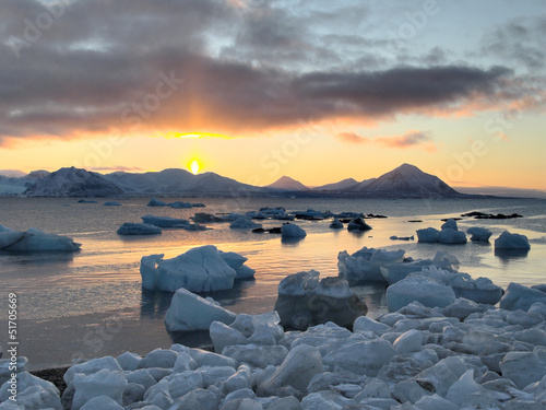 Spoed canvasdoek 2cm dik Antarctica 2 Sunset in the Arctic - Svalbard, Spitsbergen