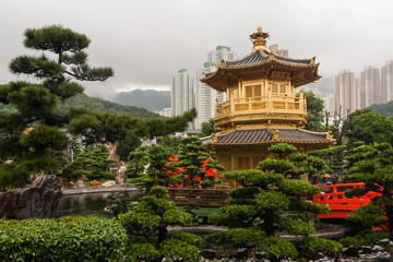 golden pagoda in Nan Lian Garden
