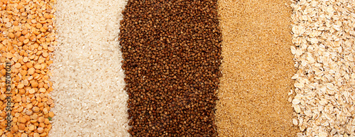 The grains of buckwheat, rice and wheat