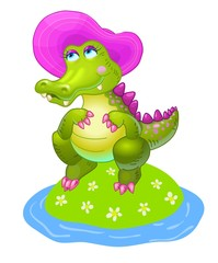 Vector cartoon happy fun girl crocodile character