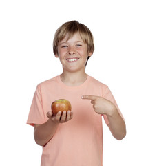Preteen with a red apple