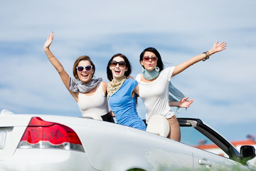 Group of girls stands in the car with hands up