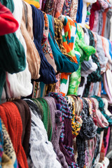 Colorful shawls and scarfs