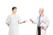 Male patient offering bribe to a mature doctor