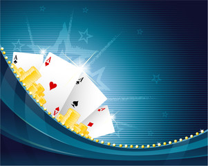Casino background with playing cards and golden chips