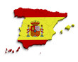 3d Spain flag map on white