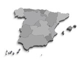 3d Spain gray map on white