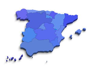 3d Spain blue map on white