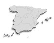 3d Spain white map