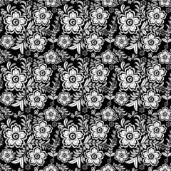 Seamless monochrome floral pattern 4