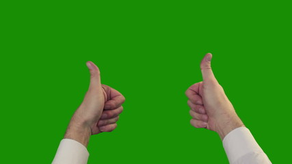 Thumbs up on the green Chroma Key
