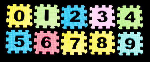 Number learning blocks isolated black