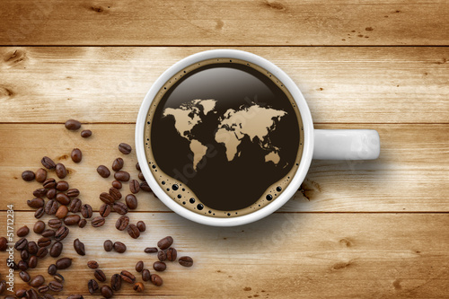 Foto op Canvas Koffie Cup of Coffee with World Map