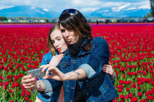 Mother Daughter photo with cell phone