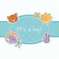 Baby born congratulation postcard