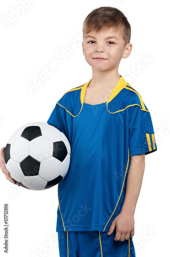 Boy in ukrainian national soccer uniform