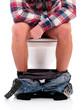 Man on toilet bowl