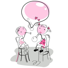 pink scetch with boy and girl