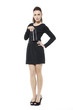 Cheerful fashion model in black dress