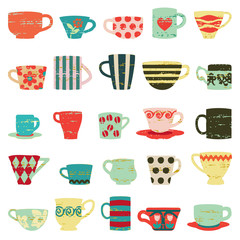 Colorful vintage cups and mugs