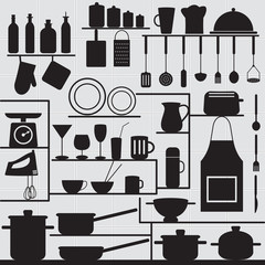 Restaurant and kitchen related symbols on tiled background